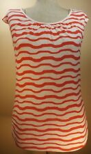 Women's Clothing FASHION Blouse MEDIUM Open Back Red White Stripe SEXY Top
