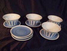 Schmid Tack Retro 60's Blue Stripe Bar Snack Salsa Porcelain Bowl Underplate Nos