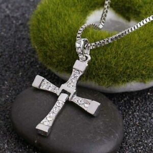 Classic Men Women Cross With Crystals Pendant Punk   Necklace