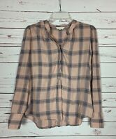 Lucky Brand Women's M Medium Pink Blue Plaid Long Sleeve Cute Top Shirt Blouse