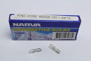 NARVA 47286 DASH BOARD WEDGE LIGHT CLEAR GLOBES 12 VOLT 1.2W T-5mm x10