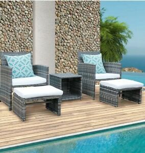 New 5-Pieces Wicker Outdoor Bistro Set with White Cushions and Ottomans