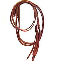 Extra Heavy Harness Leather Western Show Split Reins Braided Tails 1 in x 8.5 Ft