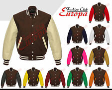 Brown Varsity  Letterman Wool Jacket with Real Leather Sleeves XS-4XL