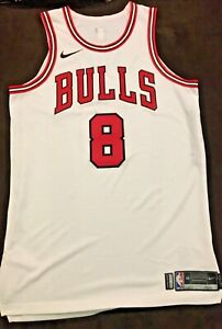 2017-18 Zach Lavine GAME USED WORN CHICAGO BULLS HOME JERSEY W MIC POUCH HOT🔥!!