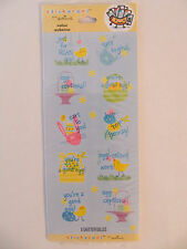 "NEW Hallmark Stickeroni Cute Baby Chick Bunny Egg ""Easter Phrases"" Stickers"
