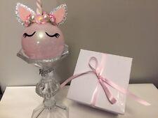 Personalized Pink unicorn christmas ornaments
