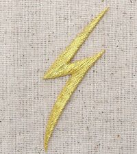 Gold Lightning Bolt - Storm/Sky/Nature - Iron on Applique/Embroidered Patch