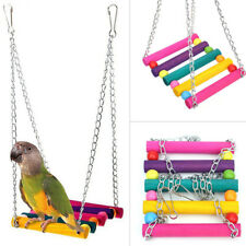 Wooden Hanging Ladder Swing Bridge Cage Toys for Mouse Parrot Bird Hamster UK