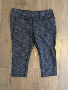 Lucy Activewear Heatherd Gray Black Crop Pants XL used