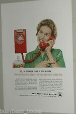 1959 BELL Telephone advertisement, Housewife, red Wall-mount Kitchen phone