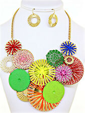 Multicolor Abstract Circles Artwork for your Neck Necklace Set Elegant Jewelry