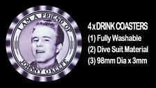 4  x  I AM A FRIEND OF JOHNNY O'KEEFE, TAKEN FROM A 1950'S BADGE, DRINK COASTERS