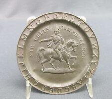 Antique Mini Tin Abc Childs Plate Alphabet Border Sir Colin Campbell on Horse