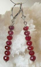 RARE NATURAL UNTREATED GEM GRADE FACETED RED SPINEL 14K WHITE GOLD EARRINGS