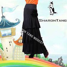 SHARON TANG Modest Apparel Black Ruffle Layer Three Flowers Skirt M ST132080007