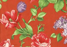 Braemore Fabric  Tangerine Lavender Gold Green Red  Floral Print Drapery