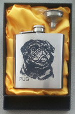 Pug Dog 6oz Stainless steel Hip Flask with Presentation Box