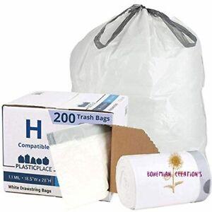 Plasticplace Custom Fit Trash Bags simplehuman (x) Code H Compatible, 8-9 Gallon