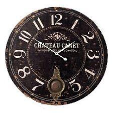 Wooden Distressed Wall Clock 55cm Vintage Shabby Chic Metal Pendulum Round