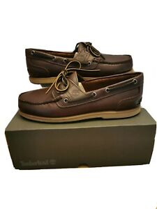 Timberland Classic 2 Eye Dark Brown Full Grain Leather Boat Shoes RRP £120.00