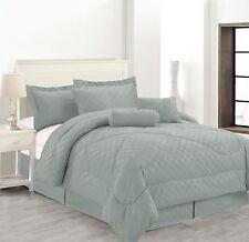 Luxury Hotel 7-Pc Comforter Set Embossed Solid Bedding King Queen Full 5 Colors