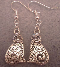 Cat dangle earrings handmade tibetan silver