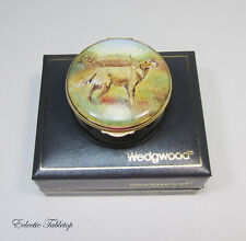 "WEDGWOOD Copper Enamels Hunting Dog Trinket Box - 2.25"" in Box"