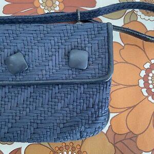 Vintage Navy Blue CANVAS Genuine Woven Little Bag Handbag
