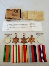 WWII BRITISH ARMY MEDALS, BOXED, NAMED