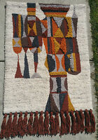 '60s MID-CENTURY MODERN wall sculpture tapestry rya mod hook rug vtg art knight