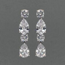 18K White Gold Plated Cubic Zirconia CZ Wedding Bridal Drop Dangle Earrings 2828