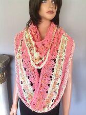 Shawl Wrap Poncho Caplet Circular  Cotton Hand Knit Designer Fashion Hip Chic
