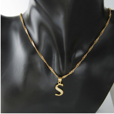 18ct Gold Filled Initial Necklace  S Alphabet Letter Pendant Chain Topaz Dainty