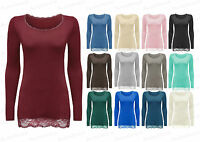 Ladies Girls NEW Plain Lace Long Sleeve Stretch Scoop Neck Top T-Shirt Girl 8-12