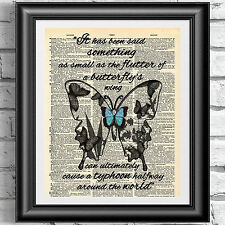 ORIGINAL ART PRINT ON ANTIQUE DICTIONARY BOOK PAGE Butterfly Quotation Wall Art