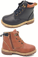 Boys Faux Leather Ankle Boots Lace Up Martin Chelsea Toddler UK Sizes 6-12