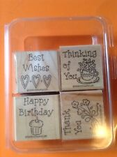 Stampin' Up! 1998 set of 4 stamps Birthday Thank You Best Wishes Thinking Of You