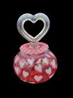 Vtg Fenton Glass Cranberry White Opalescent Heart Optic Perfume Bottle Stopper