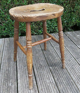 Vintage antique wooden Stool Distressed shabby chic Milking plant stand Prop