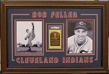 Bob Feller PSA DNA slabbed HOF plaque Custom Framed with two 8x10 Indians