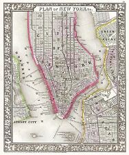 MAP ANTIQUE 1866 MITCHELL NEW YORK CITY PLAN LARGE REPLICA POSTER PRINT PAM1867