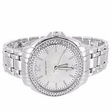Silver Tone Womens Watch Simulated Diamond Bezel Gino Milano Quartz Iced Classy