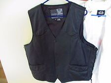 USA Bikers Dream Apparel Black Leather Snap Up Motorcycle Vest Mens 52 HOG