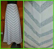 Vtg 70sSILVER CHEVRON Stripe Metallic Knit Hippie Boho Party MAXI dress SKIRT