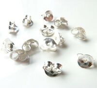 925 Solid Sterling Silver Butterfly Earring Backs/Scrolls Push Fit 3,5,10 & 20