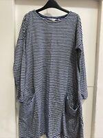 Seasalt Blue White Stripe Mill Pool Dress Size 8 100% Cotton Pockets Long Sleeve