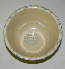 Red Wing Spongeware Paneled Bowl Stanton Nebraska Advertising