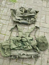 More details for british army, 58 pattern webbing set, belt, yoke, 5 pouches, poncho roll, pack.