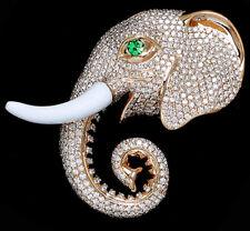 5.58ctw Natural Round Diamond Emerald Gemstone 14K Yellow Gold Elephant Brooch